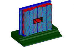 3D view of building with floor view dwg file