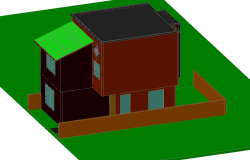 3D view of bungalows dwg file