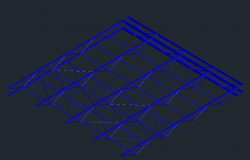 3D view of ceiling with metallic structure dwg file