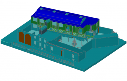3D view of civic center dwg file