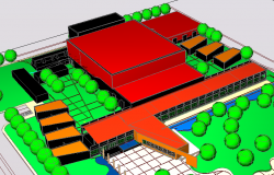 3D view of convection center dwg file
