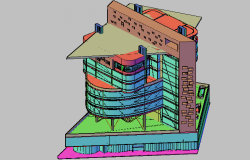 3D view of high rise building of Iran dwg file