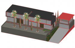 3D view of house design dwg file