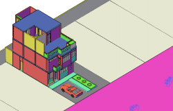 3D view of house with camera preview dwg file