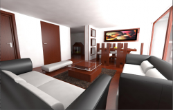 3D view of living and dining area