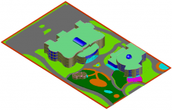 3D view of museum design dwg file