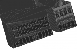 3D view of national dance center dwg file