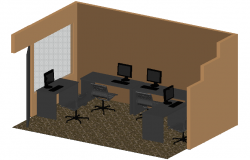3D view of office interior dwg file