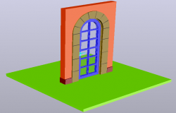 3D view of round shaped door