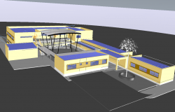 3D view of school dwg file
