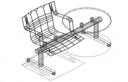 3D wire frame view of cafe chair with table furniture view dwg file