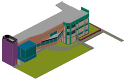 3D drawing of office building