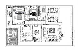 3 BHK Furnished Bungalow Ground Floor Plan AutoCAD File