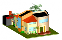 3d Bungalow Elevation dwg file
