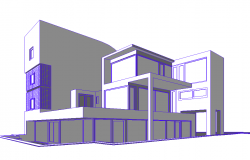 3d Bungalow Elevation dwg file.