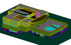 3d Club House project dwg file