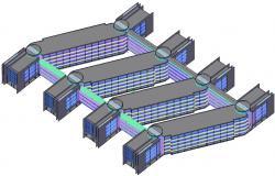 3d Commercial Building Model DWG File