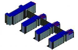 3d Commercial Building Model Design DWG File