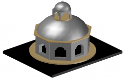 3d Design of mosque dome architecture details dwg file