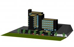 3d Drawing of the multistorey hotel building in dwg file