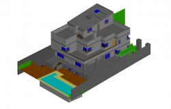 3d Drawing of the villa in dwg file