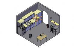 3d Kitchen Model CAD Drawing