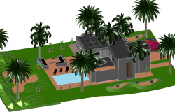 3d Luxurious house plan dwg file