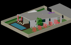 3d Modern House Project detail dwg file