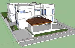 3d Modern White Bungalow Design Sketch Up File