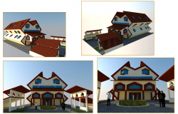 3d all sided elevation design of economic office building dwg file