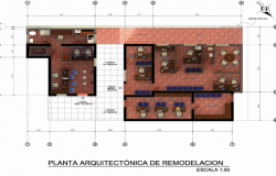 3d architecture layout plan design of bank agency dwg file