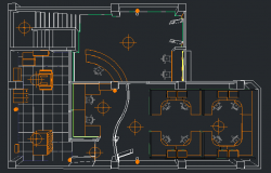 3d architecture layout plan details of corporate office dwg file