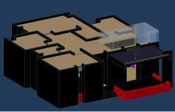 3d banglow dwg file detail showing terrace