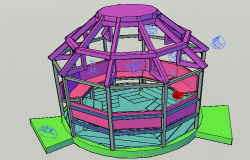 3d design of 16 foot diameter gazebo of garden dwg file
