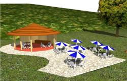 3d design of Gloria type gazebo kiosk tables with umbrella dwg file