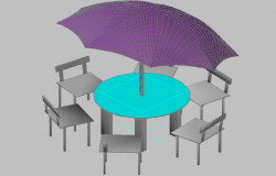 3d design of Parasol with chairs and umbrella dwg file