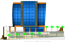 3d design of back elevation view of office building dwg file