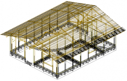 3d design of bamboo house project dwg file