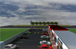 3d design of car parking lot top view of shopping center dwg file
