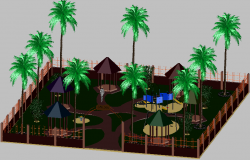 3d design of children playground landscaping dwg file