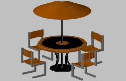 3d design of coffee table with umbrella dwg file