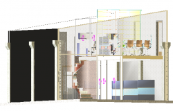 3d design of corporate office with interior and equipment dwg file