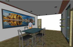 3d design of dining room of house dwg file