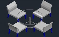 3d design of dining table in autocad