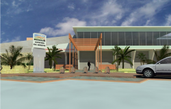 3d design of entrance view of city market dwg file