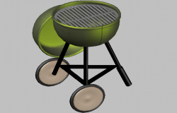 3d design of fire grill of barbecue kitchen dwg file