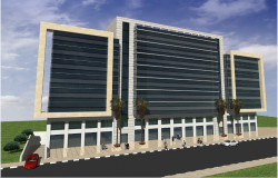 3d design of front elevation view of office building dwg file