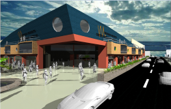 3d design of front entrance view of shopping mall dwg file