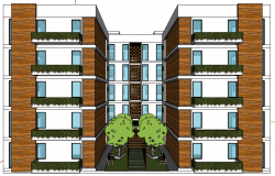 3d design of front view of multi-flooring residential building dwg file