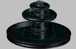 3d design of garden fountain details dwg file